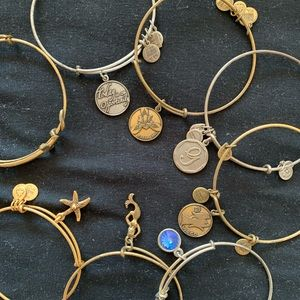 EIGHT silver and gold Alex and ani bracelets